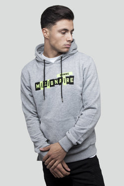 PATCHWORK PULL OVER GREY NEON HOODIE