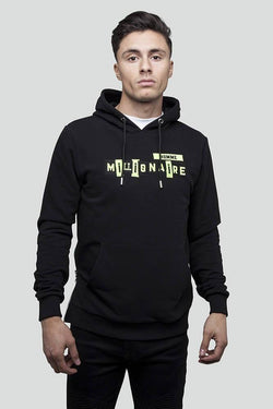 Patchwork Pull Over Black Neon Hoodie