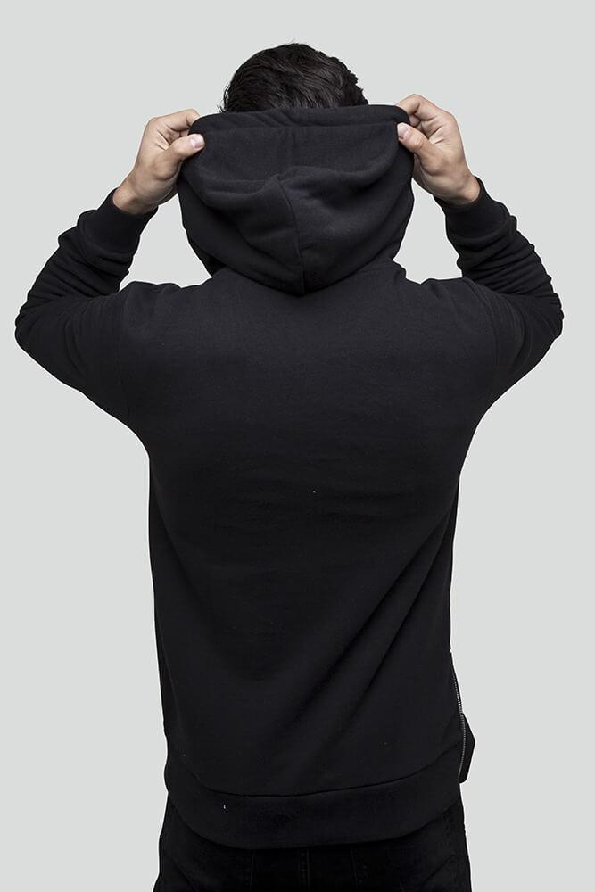 Patchwork Pull Over Black Hoodie