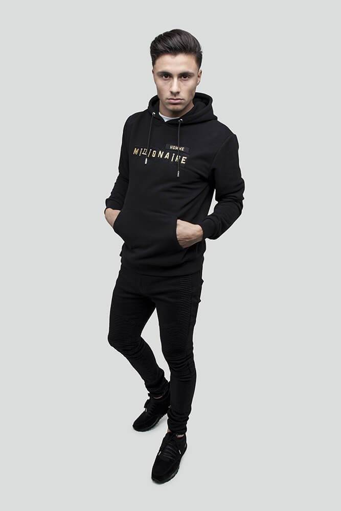 Patchwork Pull Over Black Gold Hoodie
