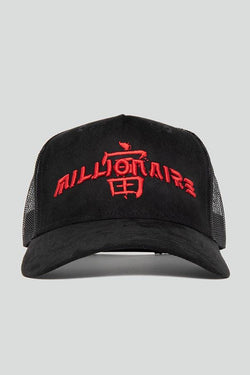 5 PANEL BLACK & RED SUEDE JAPANESE MESH TRUCKER CAP