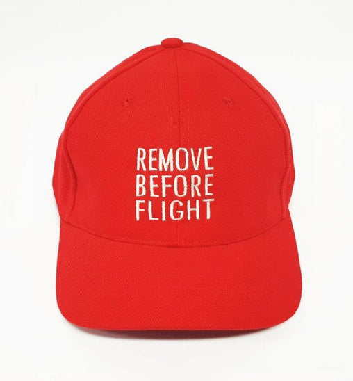 REMOVE BEFORE FLIGHT CAP embroidered logo cap