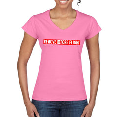 REMOVE BEFORE FLIGHT Women's Semi-Fitted T-Shirt