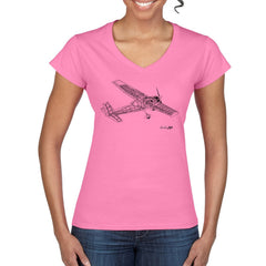 AEROBAT CUTAWAY Women's Semi-Fitted V Neck T-Shirt
