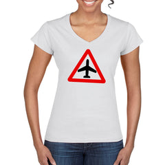 CAUTION AIRCRAFT Semi-Fitted Women's V-Neck T-Shirt