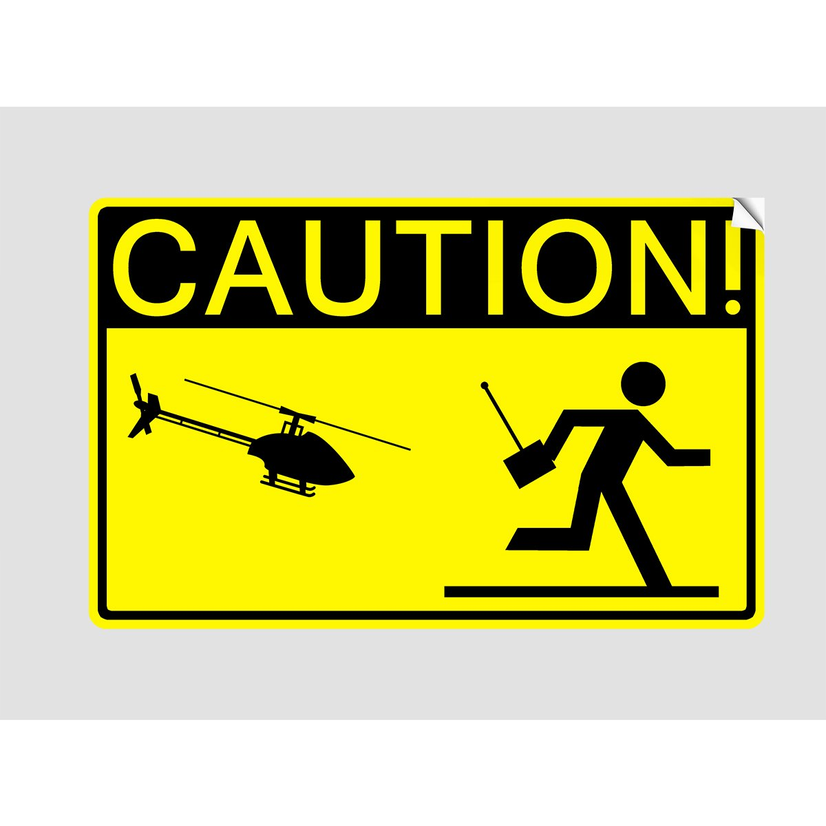 CAUTION! HELICOPTER PILOT Sticker