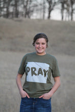 Load image into Gallery viewer, Military Green Striped Pray Christian Tee