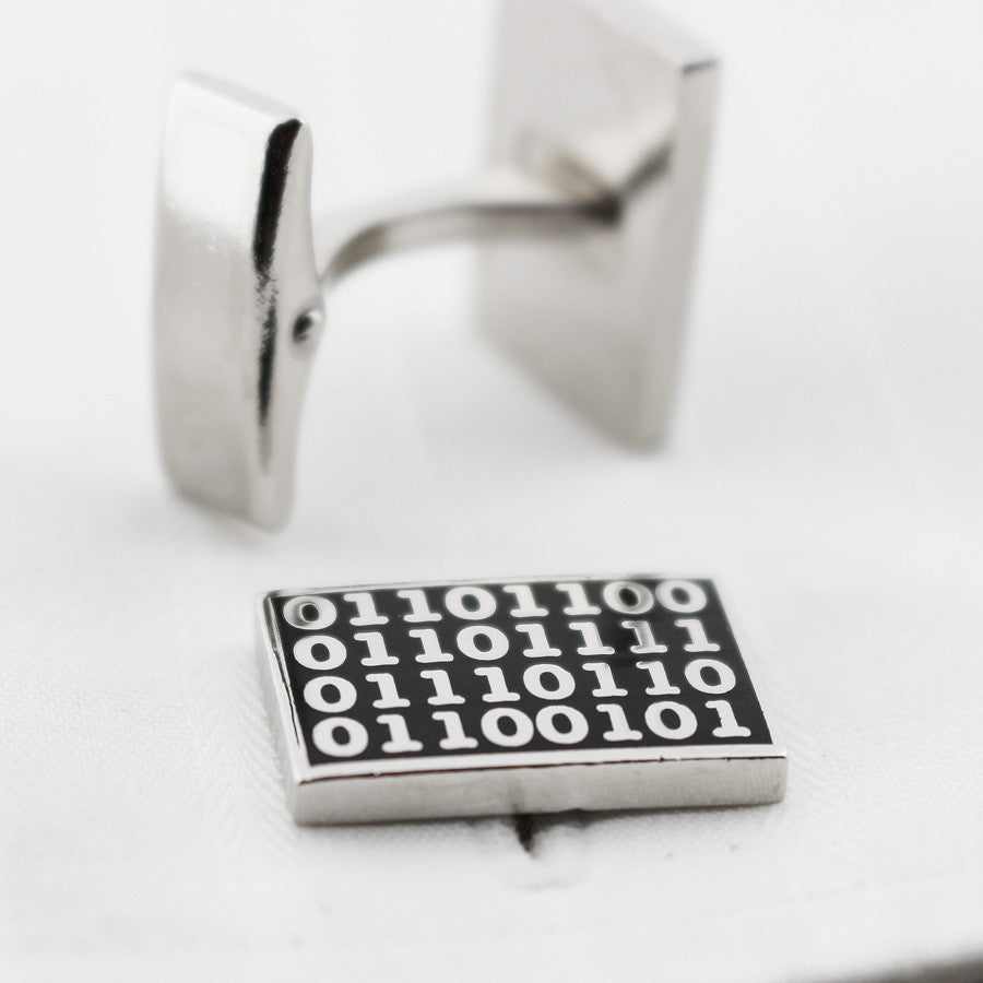 Binary code black background cufflinks