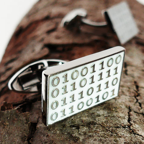 Binary code 'Love' cufflinks white background