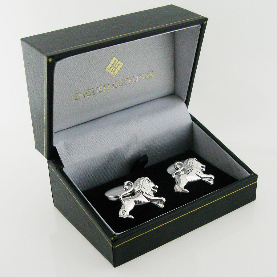 silver lion cufflinks in case