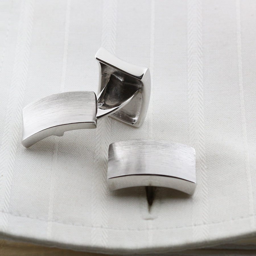 Frosted concave cufflinks