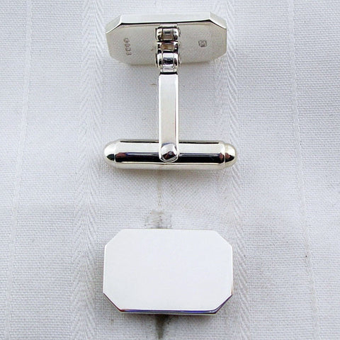 Rectangular silver swivel cufflinks