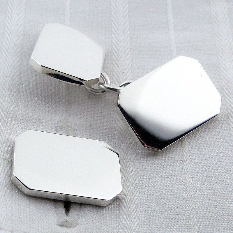 Rectangle silver cufflinks
