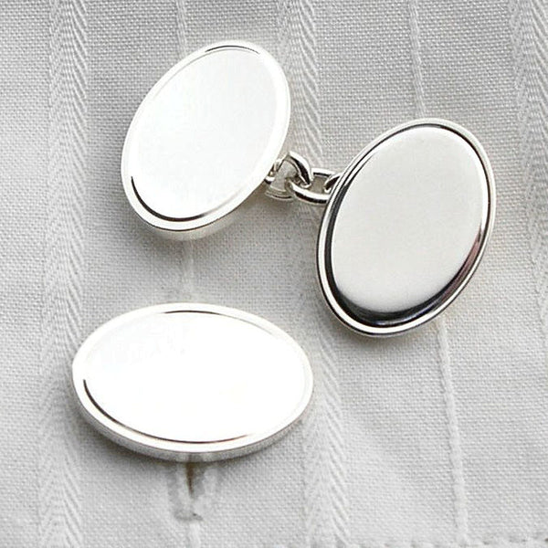 engraved border silver oval cufflinks