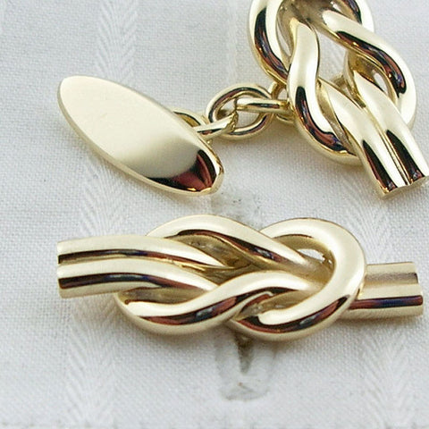 9ct yellow gold reef-knot cufflinks
