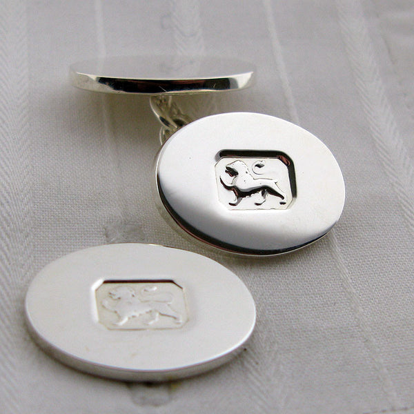 Lion mark silver cufflinks