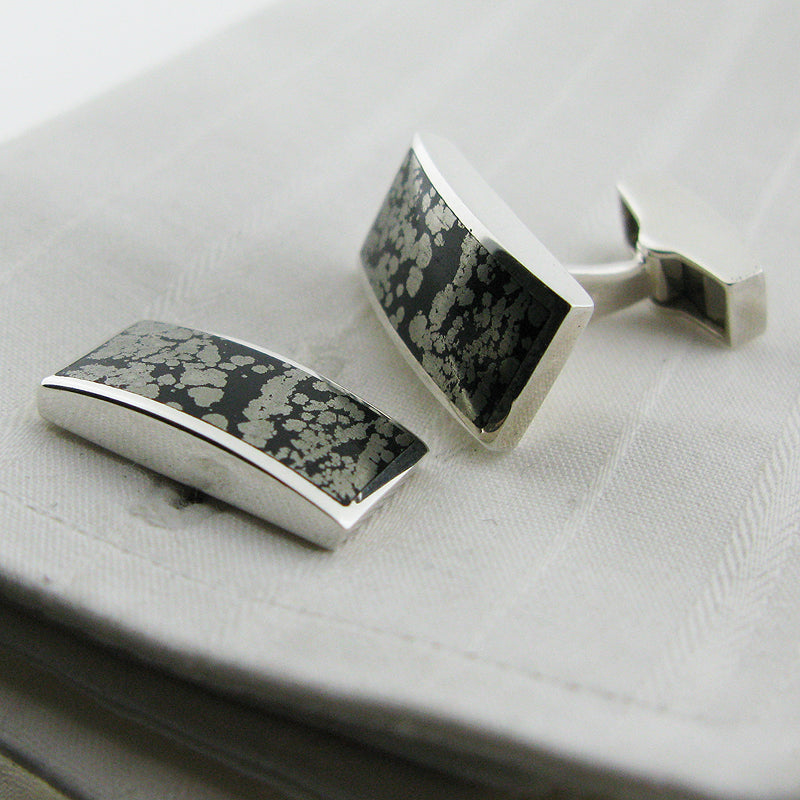 Pyrite rectangle cufflinks
