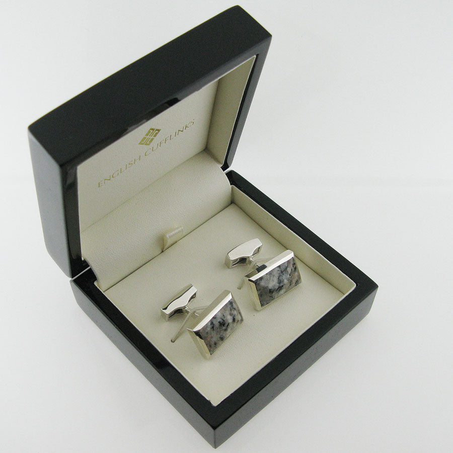 Silver granite cufflinks in case