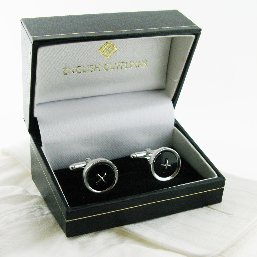 Sterling silver onyx button cufflinks in case