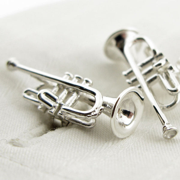 Sterling silver trumpet cufflinks from English Cufflinks
