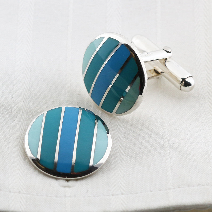 Blue enamel cufflinks