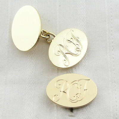 hand engraved initials on gold cufflinks