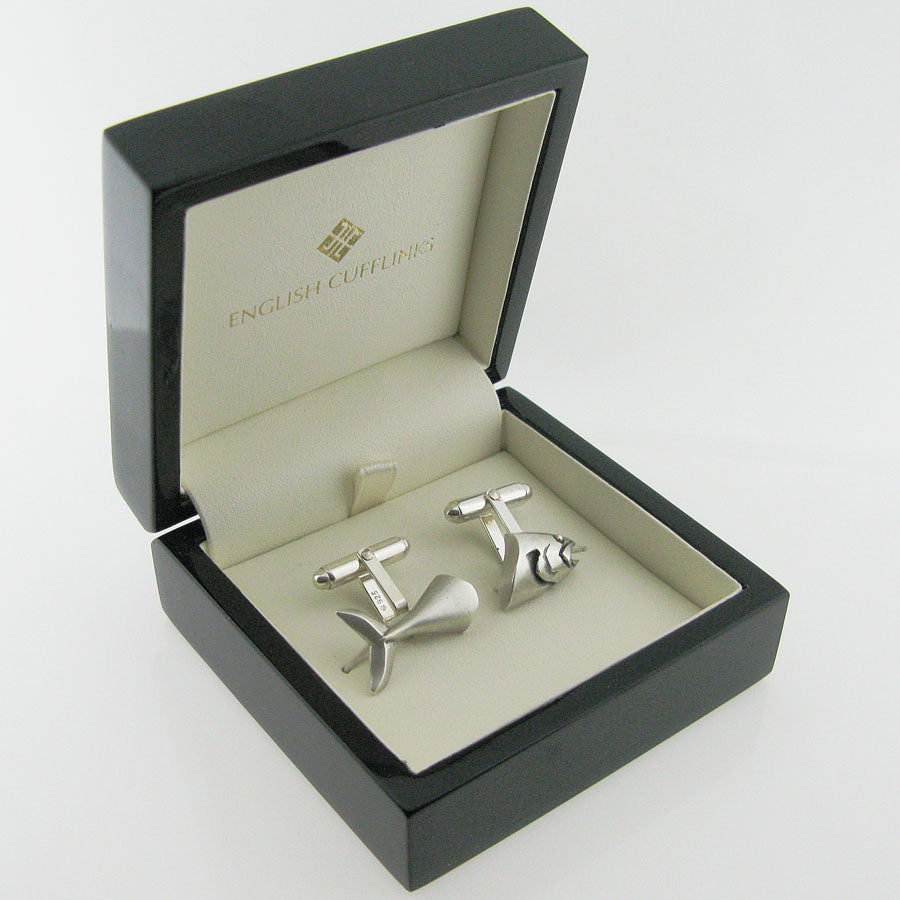 silver fish cufflinks just in case