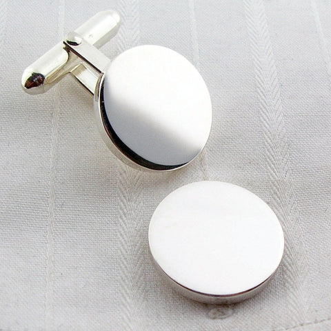 solid circle silver cufflinks