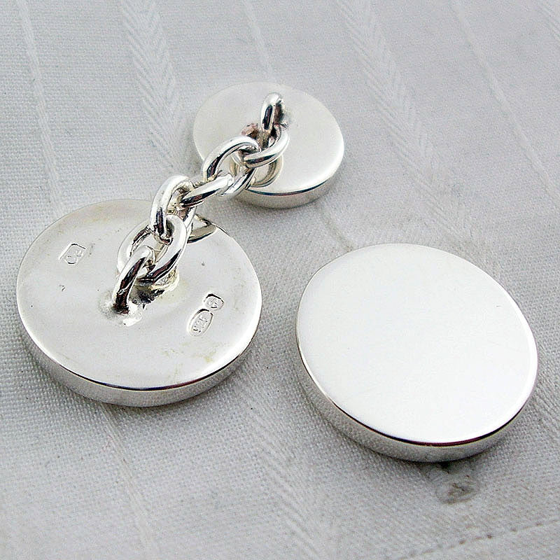 circle cufflinks showing backs
