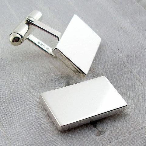 Solid rectangle silver swivel cufflinks