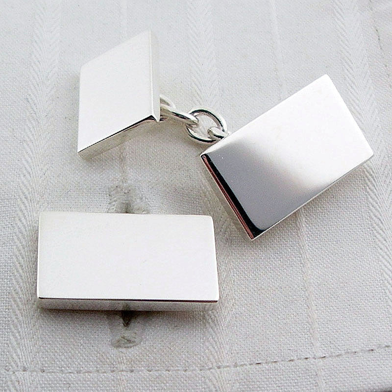Solid rectangle silver cufflinks