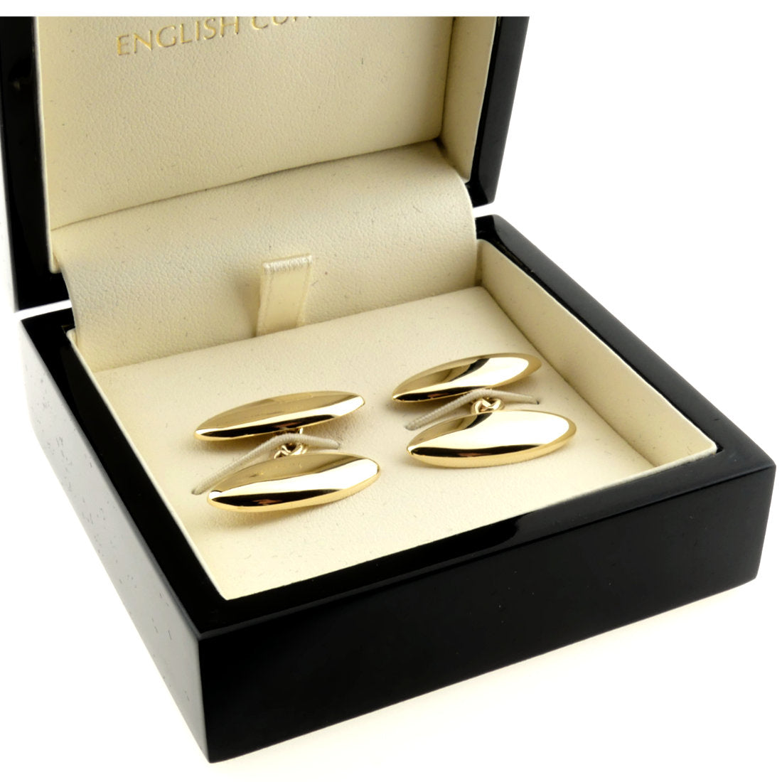 long domed oval gold cufflinks
