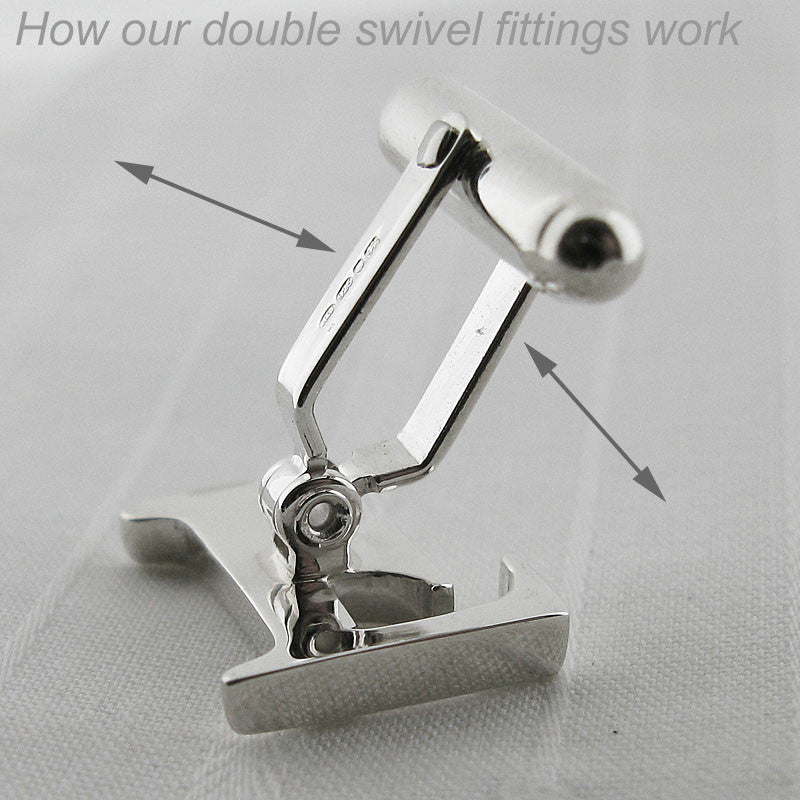 Personalised Solid Silver Initial C Cufflinks