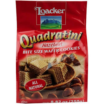 Loaker Quadratini Bite Size Hazelnit Wafer Cookies 8.82 oz.