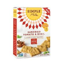 Simple Mills Almond Flour Sundried Tomato & Basil Crackers 4.25 oz.