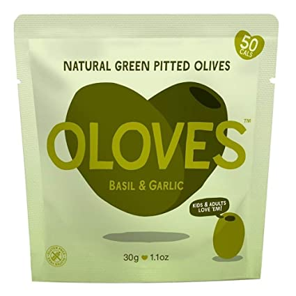 Oloves Basil & Garlic Green Pitted Olives 1.1 oz