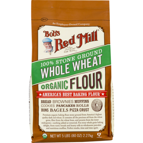 Bob's Red Mill 100% Stone Ground Whole Wheat Organic Flour 5 LBS