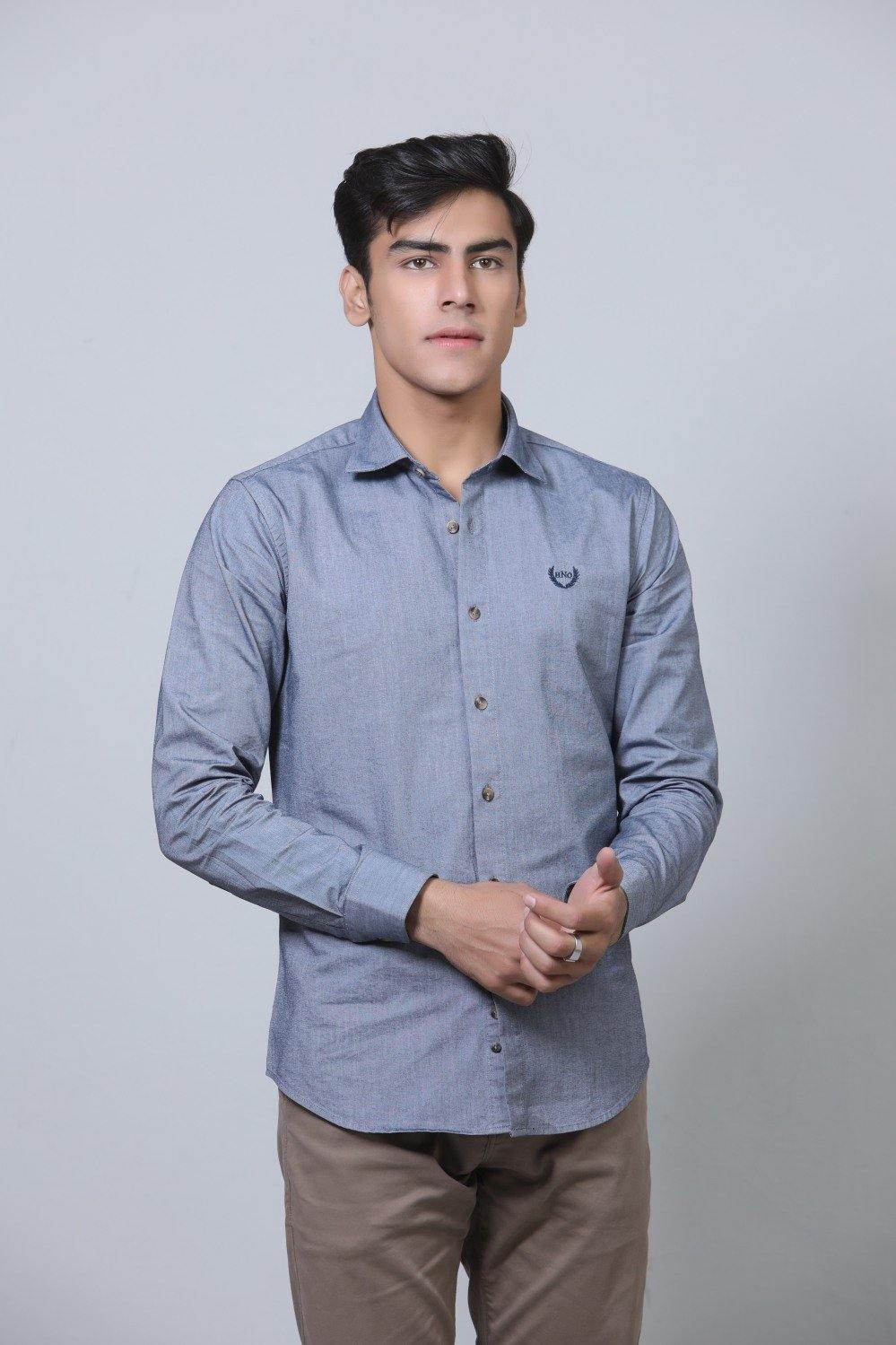 Grey Casual Shirt HMWSF20016 - HOPE NOT OUT