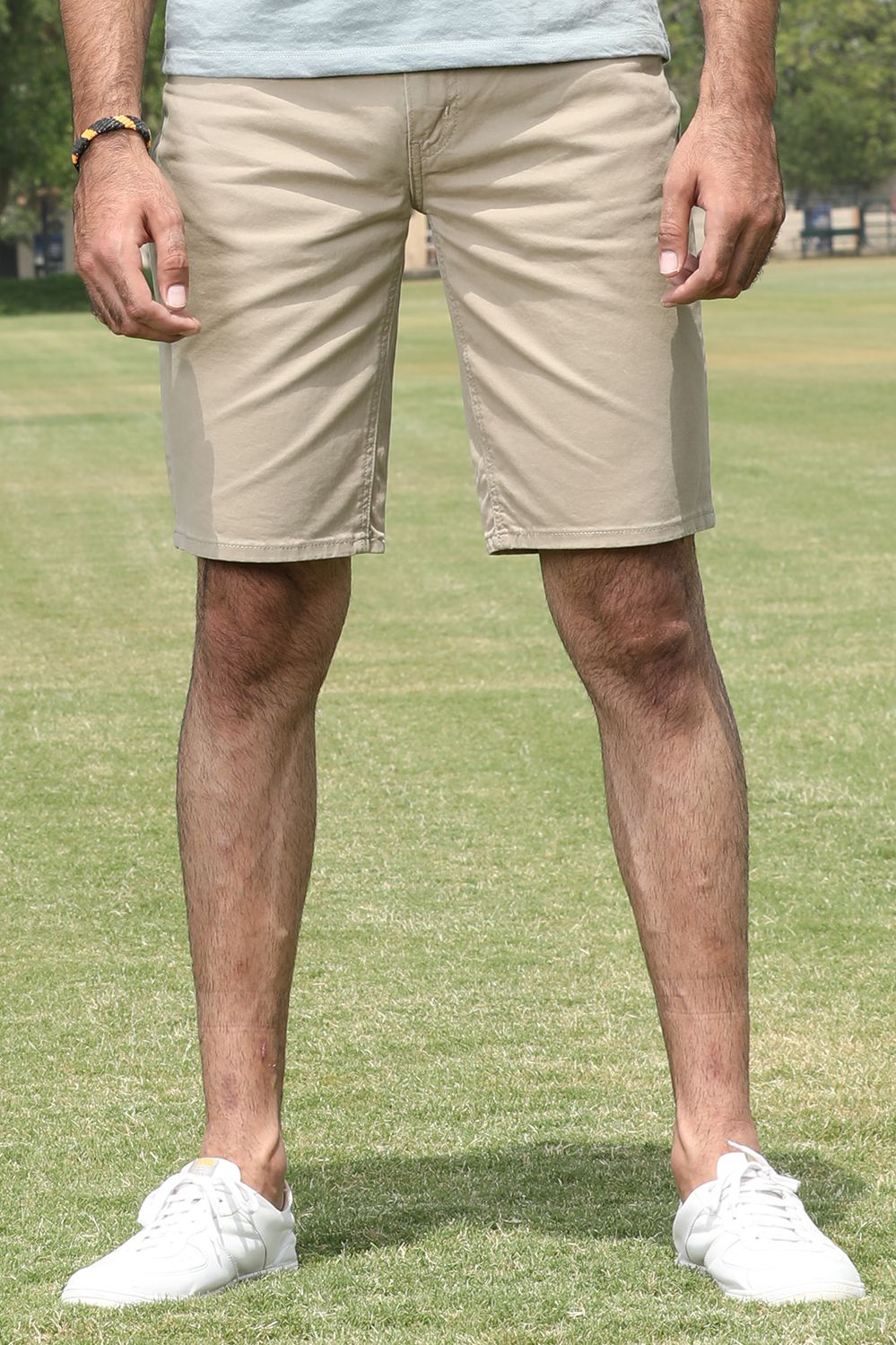 Basic Khaki Cotton Shorts - HOPE NOT OUT
