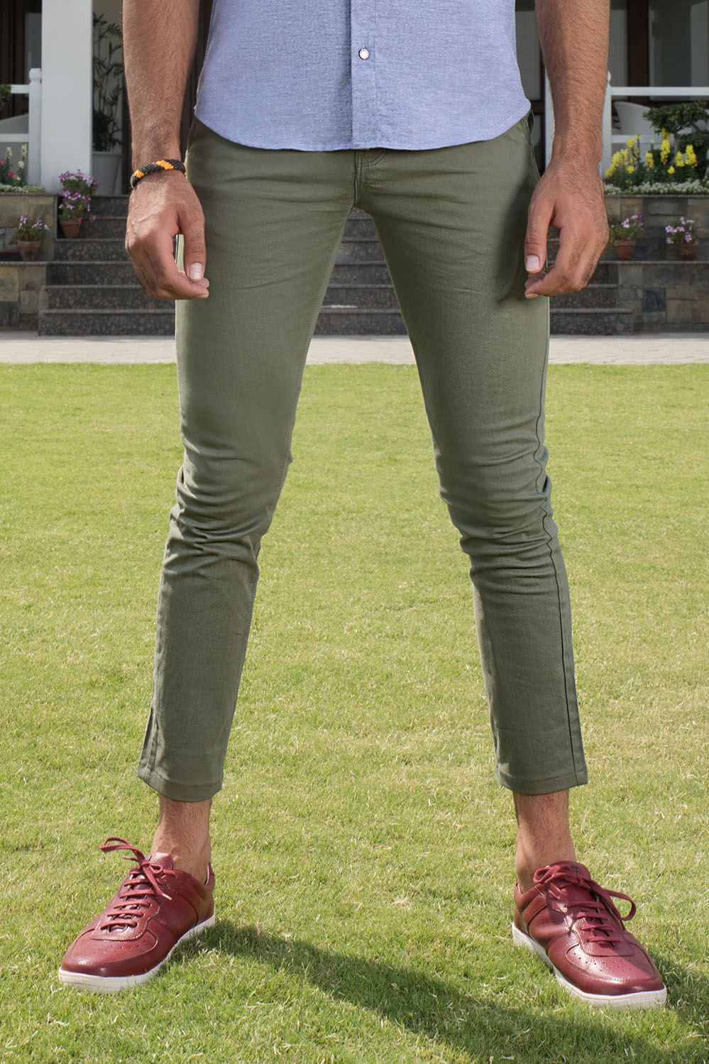 Slim Fit Olive Chino in Comfort Stretch - HOPE NOT OUT