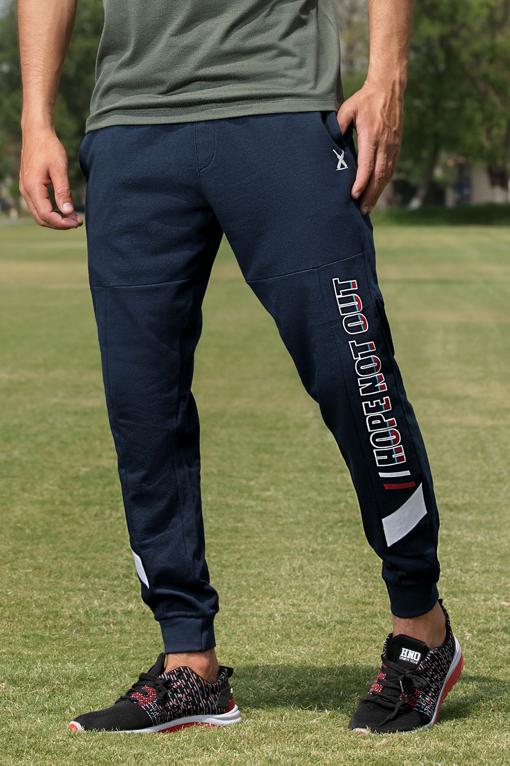 Navy Graphic Print Knit Trouser - HOPE NOT OUT