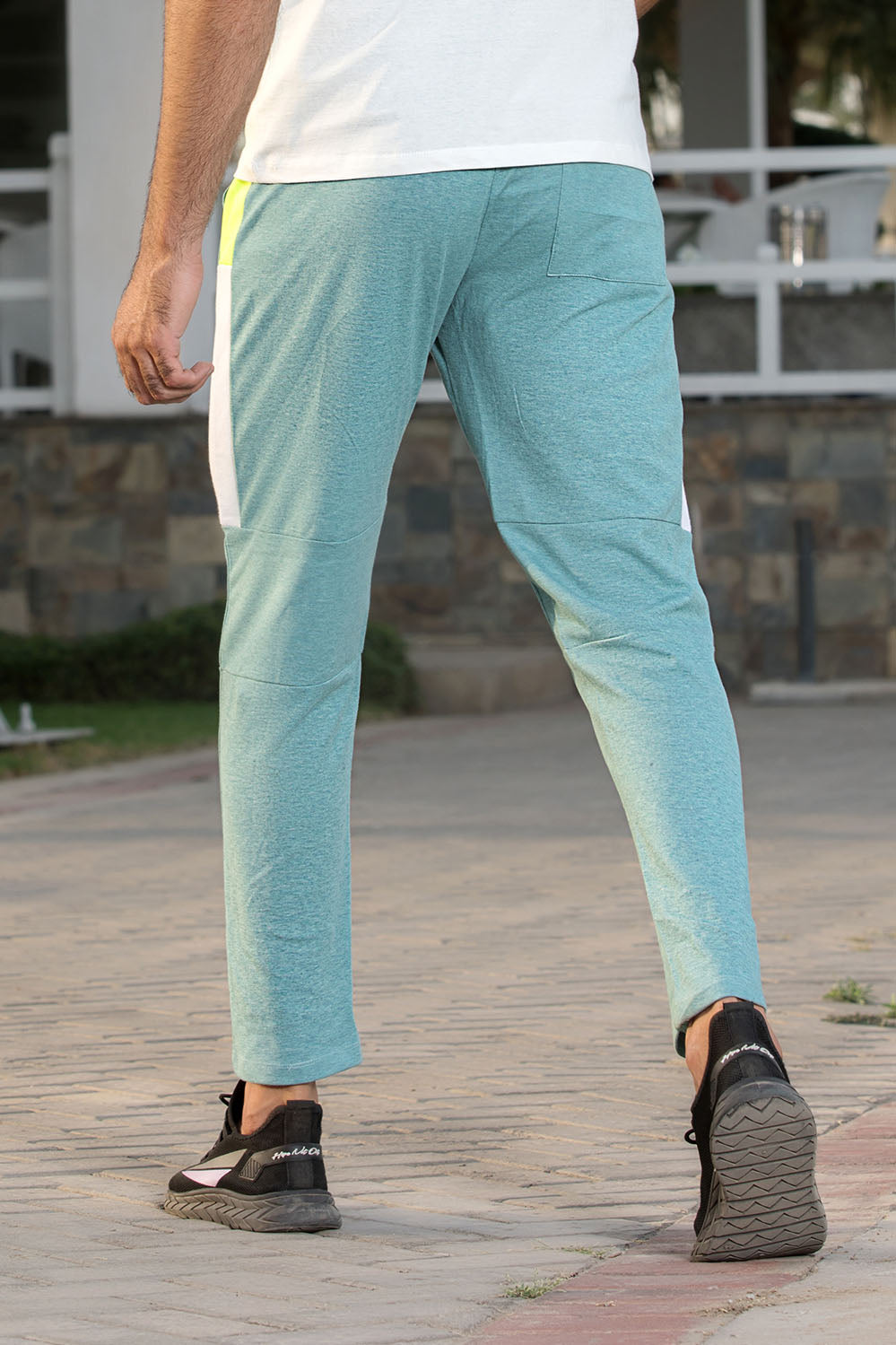 Color Blocking Green Panelled Knit Trouser - HOPE NOT OUT