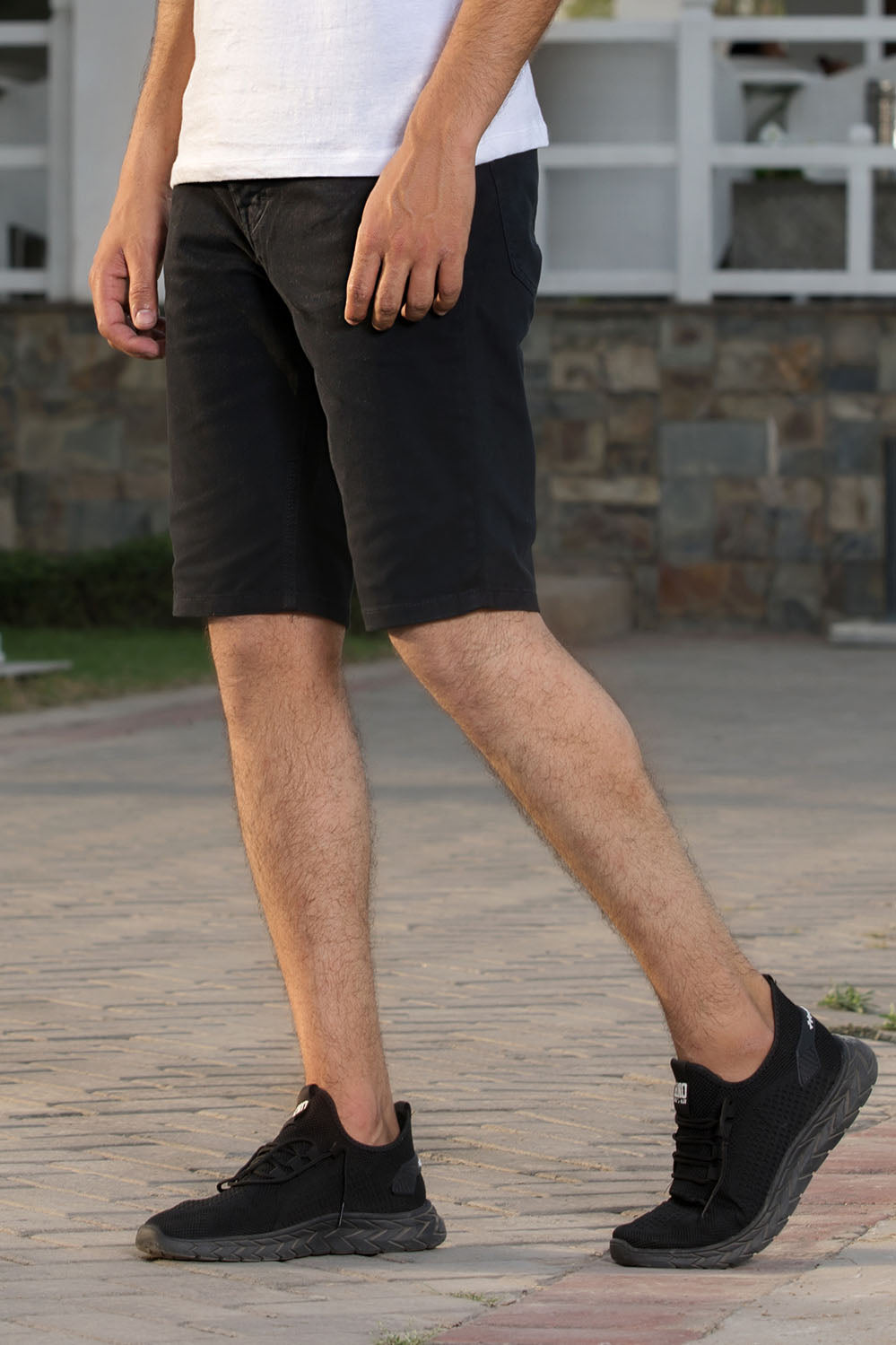 Basic Black Cotton Shorts - HOPE NOT OUT