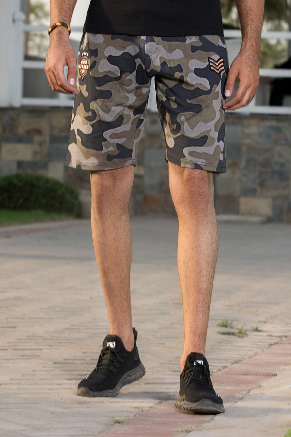 Camo Knit Short with Embroided appliques - HOPE NOT OUT