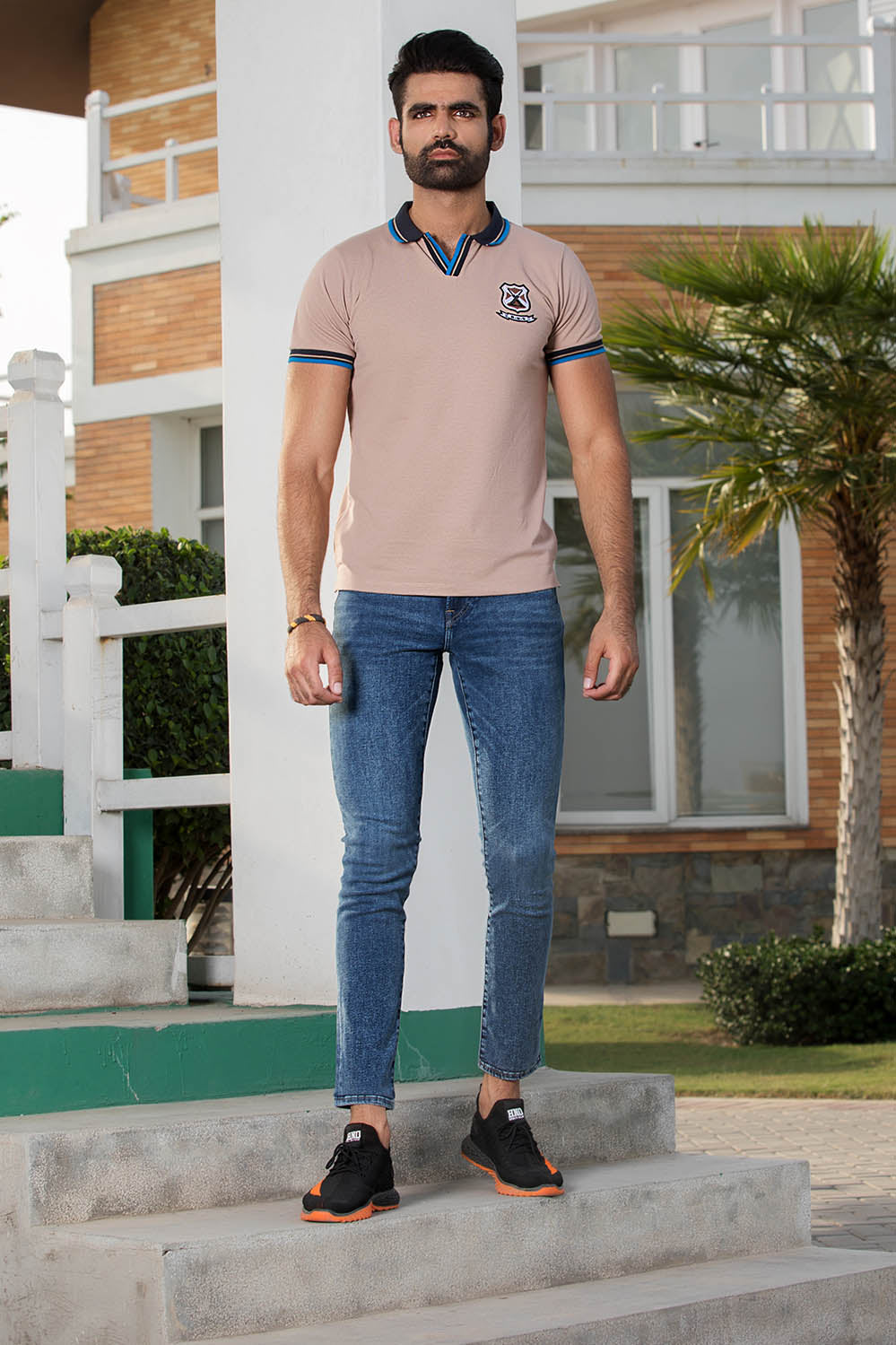 Premium Embroided Polo with Johny Collar - HOPE NOT OUT
