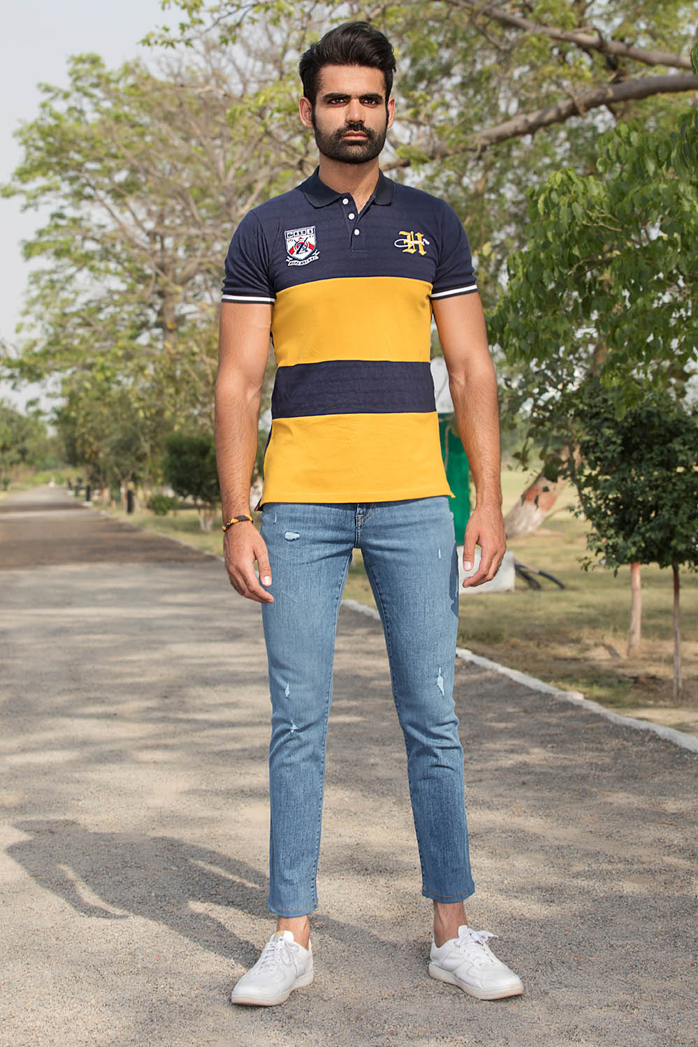 Premium Embroided Color blocking Mustard Polo with Tipping Collar - HOPE NOT OUT