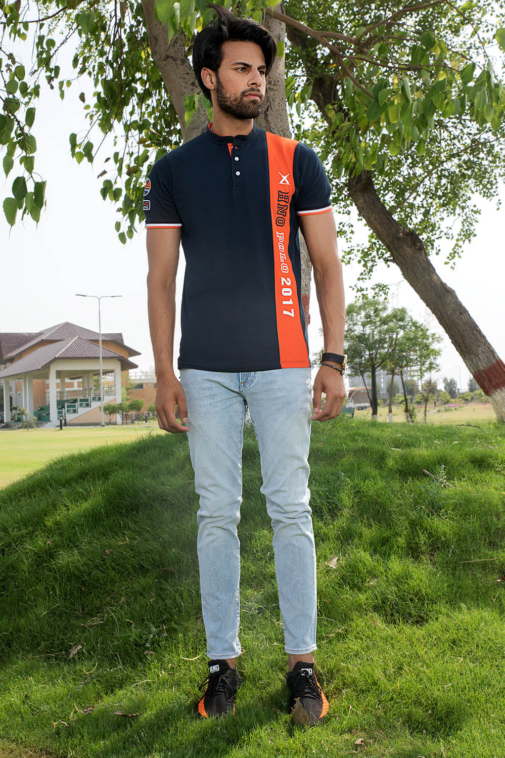 Colour Blocking Ban Polo with embroidery details - HOPE NOT OUT