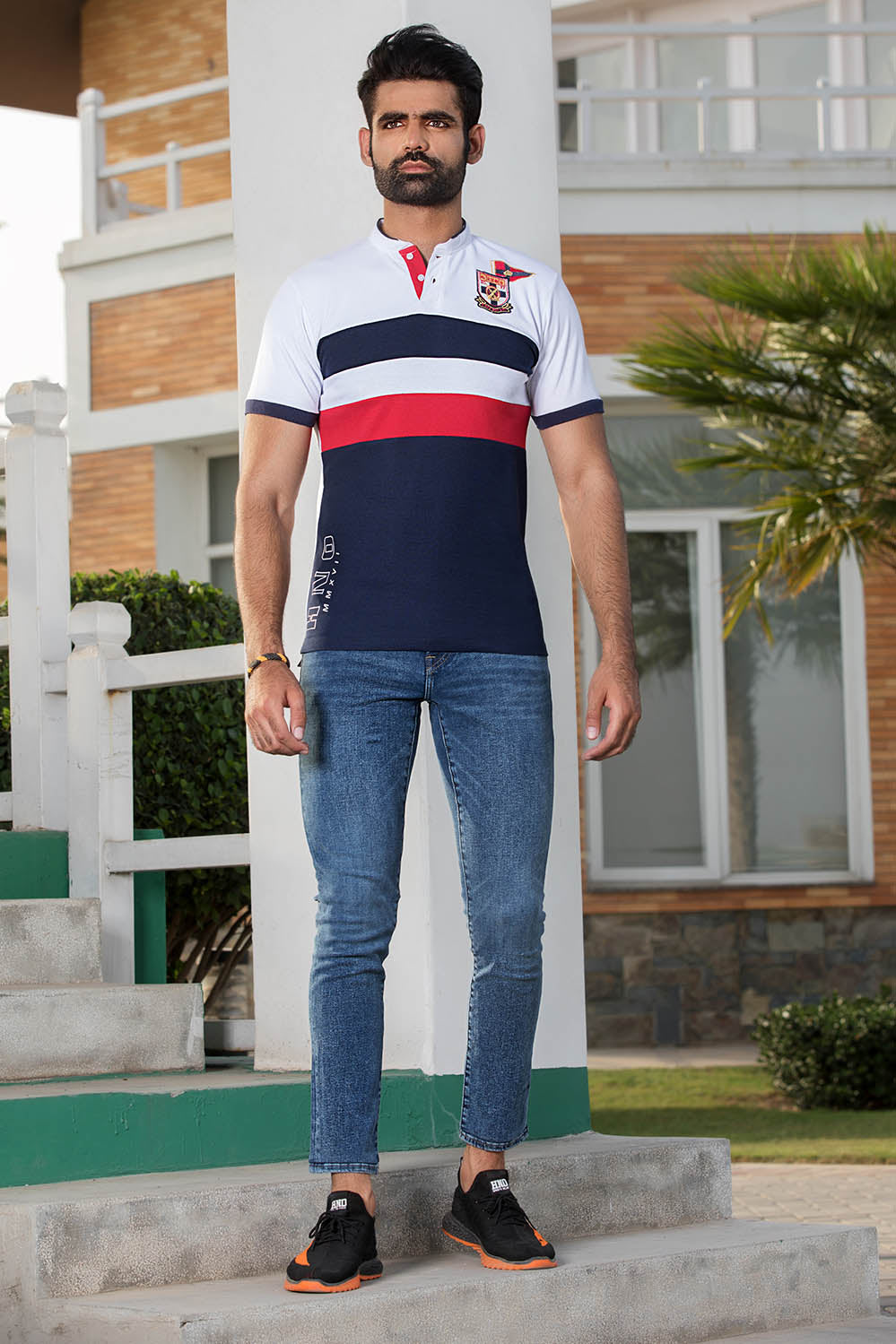 Colour Blocking Ban Polo with Embroidery & Print details - HOPE NOT OUT