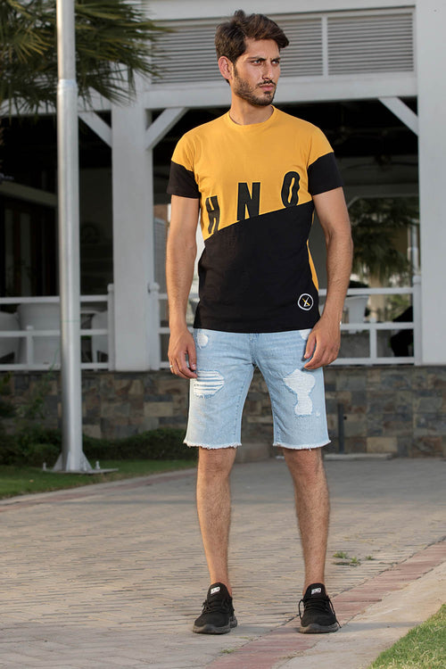 Color Blocking Mustard Graphic Tee