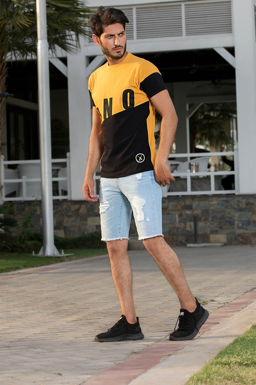 Color Blocking Mustard Graphic Tee - HOPE NOT OUT
